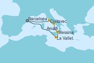 Visitando Barcelona, La Valletta (Malta), Messina (Sicilia), Amalfi (Italia), Civitavecchia (Roma), Barcelona