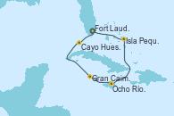 Visitando Fort Lauderdale (Florida/EEUU), Cayo Hueso (Key West/Florida), Gran Caimán (Islas Caimán), Ocho Ríos (Jamaica), Isla Pequeña (San Salvador/Bahamas), Fort Lauderdale (Florida/EEUU)