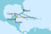 Visitando Miami (Florida/EEUU), Roatán (Honduras), Costa Maya (México), Cozumel (México), Gran Caimán (Islas Caimán), Miami (Florida/EEUU)