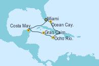Visitando Miami (Florida/EEUU), Ocean Cay MSC Marine Reserve (Bahamas), Ocho Ríos (Jamaica), Gran Caimán (Islas Caimán), Costa Maya (México), Miami (Florida/EEUU)