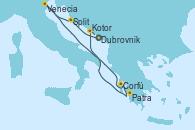 Visitando Dubrovnik (Croacia), Split (Croacia), Venecia (Italia), Corfú (Grecia), Patra (Grecia), Kotor (Montenegro), Dubrovnik (Croacia)