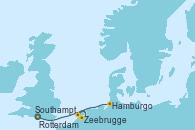 Visitando Southampton (Inglaterra), Zeebrugge (Bruselas), Rotterdam (Holanda), Rotterdam (Holanda), Hamburgo (Alemania)