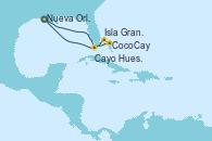 Visitando Nueva Orleans (Luisiana), CocoCay (Bahamas), Isla Gran Bahama (Florida/EEUU), Cayo Hueso (Key West/Florida), Nueva Orleans (Luisiana)