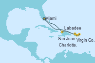 Visitando Miami (Florida/EEUU), Labadee (Haiti), San Juan (Puerto Rico), Virgin Gorda (Islas Virgenes), Charlotte Amalie (St. Thomas), Miami (Florida/EEUU)