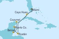 Visitando Miami (Florida/EEUU), Cayo Hueso (Key West/Florida), Roatán (Honduras), Puerto Costa Maya (México), Belize (Caribe), Cozumel (México), Miami (Florida/EEUU)