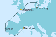 Visitando Hamburgo (Alemania), Southampton (Inglaterra), Southampton (Inglaterra), Lisboa (Portugal), Lisboa (Portugal), Barcelona, Barcelona