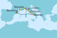 Visitando Barcelona, Nápoles (Italia), Civitavecchia (Roma), Livorno, Pisa y Florencia (Italia), Niza (Francia), Marsella (Francia), Barcelona