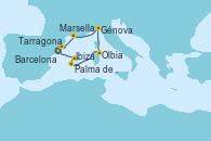 Visitando Tarragona (España), Palma de Mallorca (España), Ibiza (España), Ibiza (España), Olbia (Cerdeña), Génova (Italia), Marsella (Francia), Barcelona