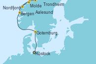 Visitando Rostock (Alemania), Gotemburgo (Suecia), Bergen (Noruega), Molde (Noruega), Nordfjordeid, Aalesund (Noruega), Trondheim (Noruega)