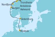 Visitando Trondheim (Noruega), Aalesund (Noruega), Nordfjordeid, Andalsnes (Noruega), Bergen (Noruega), Gotemburgo (Suecia), Rostock (Alemania)
