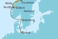 Visitando Trondheim (Noruega), Aalesund (Noruega), Nordfjordeid, Molde (Noruega), Eidfjord (Hardangerfjord/Noruega), Gotemburgo (Suecia), Rostock (Alemania)