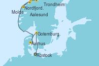 Visitando Rostock (Alemania), Gotemburgo (Suecia), Aarhus (Dinamarca), Molde (Noruega), Nordfjordeid, Aalesund (Noruega), Trondheim (Noruega)