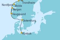 Visitando Trondheim (Noruega), Molde (Noruega), Nordfjordeid, Haugesund (Noruega), Bergen (Noruega), Gotemburgo (Suecia), Rostock (Alemania)