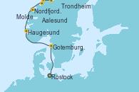 Visitando Rostock (Alemania), Gotemburgo (Suecia), Haugesund (Noruega), Nordfjordeid, Molde (Noruega), Aalesund (Noruega), Trondheim (Noruega)