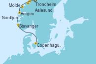 Visitando Trondheim (Noruega), Aalesund (Noruega), Molde (Noruega), Nordfjordeid, Bergen (Noruega), Stavanger (Noruega), Copenhague (Dinamarca)