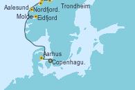 Visitando Copenhague (Dinamarca), Aarhus (Dinamarca), Eidfjord (Hardangerfjord/Noruega), Nordfjordeid, Molde (Noruega), Aalesund (Noruega), Trondheim (Noruega)