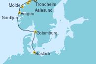 Visitando Trondheim (Noruega), Aalesund (Noruega), Molde (Noruega), Nordfjordeid, Bergen (Noruega), Gotemburgo (Suecia), Rostock (Alemania)