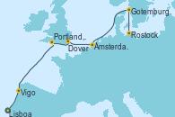Visitando Lisboa (Portugal), Vigo (España), Portland, Dorset (Reino Unido), Dover (Inglaterra), Ámsterdam (Holanda), Gotemburgo (Suecia), Rostock (Alemania)