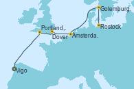 Visitando Vigo (España), Portland, Dorset (Reino Unido), Dover (Inglaterra), Ámsterdam (Holanda), Gotemburgo (Suecia), Rostock (Alemania)