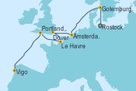 Visitando Rostock (Alemania), Gotemburgo (Suecia), Ámsterdam (Holanda), Dover (Inglaterra), Le Havre (Francia), Portland, Dorset (Reino Unido), Vigo (España)