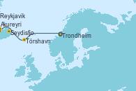 Visitando Trondheim (Noruega), Tórshavn (Dinamarca), Seydisfjordur (Islandia), Seydisfjordur (Islandia), Akureyri (Islandia), Reykjavik (Islandia), Reykjavik (Islandia)