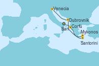 Visitando Bari (Italia), Corfú (Grecia), Santorini (Grecia), Mykonos (Grecia), Dubrovnik (Croacia), Venecia (Italia)
