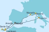 Visitando Málaga, Livorno, Pisa y Florencia (Italia), Savona (Italia), Marsella (Francia), Fuerteventura (Canarias/España), Santa Cruz de Tenerife (España), Arrecife (Lanzarote/España), Málaga