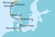 Visitando Copenhague (Dinamarca), Hellesylt (Noruega), Geiranger (Noruega), Aalesund (Noruega), Stavanger (Noruega), Gotemburgo (Suecia), Warnemunde (Alemania), Copenhague (Dinamarca)