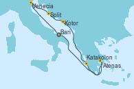 Visitando Bari (Italia), Venecia (Italia), Split (Croacia), Kotor (Montenegro), Katakolon (Olimpia/Grecia), Atenas (Grecia), Bari (Italia)