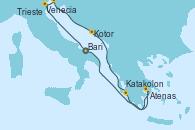 Visitando Bari (Italia), Venecia (Italia), Trieste (Italia), Kotor (Montenegro), Katakolon (Olimpia/Grecia), Atenas (Grecia), Bari (Italia)