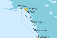 Visitando Vancouver (Canadá), Ketchikan (Alaska), Juneau (Alaska), Skagway (Alaska), College Fjord (Alaska), Whittier (Alaska)