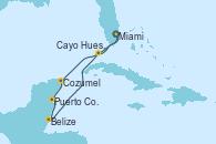 Visitando Miami (Florida/EEUU), Cozumel (México), Puerto Costa Maya (México), Belize (Caribe), Cayo Hueso (Key West/Florida), Miami (Florida/EEUU)