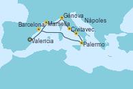 Visitando Valencia, Marsella (Francia), Génova (Italia), Civitavecchia (Roma), Nápoles (Italia), Palermo (Italia), Barcelona