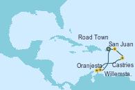Visitando San Juan (Puerto Rico), Road Town (Isla Tórtola/Islas Vírgenes), Castries (Santa Lucía/Caribe), Oranjestad (Aruba), Willemstad (Antillas), San Juan (Puerto Rico)
