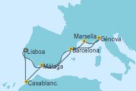 Visitando Lisboa (Portugal), Barcelona, Marsella (Francia), Génova (Italia), Málaga, Casablanca (Marruecos), Lisboa (Portugal)