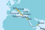 Visitando Malé (Maldivas), Malé (Maldivas), Salalah (Omán), Eilat (Israel), Eilat (Israel), Aqaba (Jordania), Heraklion (Creta), Katakolon (Olimpia/Grecia), Corfú (Grecia), Dubrovnik (Croacia), Split (Croacia), Venecia (Italia)