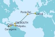 Visitando Colón (Panamá), Cartagena de Indias (Colombia), Philipsburg (St. Maarten), St. John's (Antigua), Ponta Delgada (Azores), Lisboa (Portugal), Lisboa (Portugal)