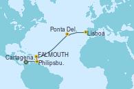 Visitando Cartagena de Indias (Colombia), Philipsburg (St. Maarten), St. John's (Antigua), Ponta Delgada (Azores), Lisboa (Portugal), Lisboa (Portugal)