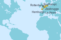 Visitando Southampton (Inglaterra), Zeebrugge (Bruselas), Rotterdam (Holanda), Rotterdam (Holanda), Hamburgo (Alemania), Le Havre (Francia), Southampton (Inglaterra)