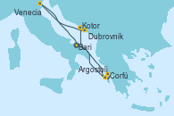 Visitando Bari (Italia), Corfú (Grecia), Argostoli (Grecia), Kotor (Montenegro), Dubrovnik (Croacia), Venecia (Italia), Bari (Italia)