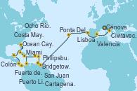 Visitando Génova (Italia), Civitavecchia (Roma), Valencia, Lisboa (Portugal), Ponta Delgada (Azores), Ponta Delgada (Azores), Bridgetown (Barbados), Fuerte de France (Martinica), Philipsburg (St. Maarten), San Juan (Puerto Rico), San Juan (Puerto Rico), Miami (Florida/EEUU), Ocho Ríos (Jamaica), Cartagena de Indias (Colombia), Colón (Panamá), Puerto Limón (Costa Rica), Costa Maya (México), Ocean Cay MSC Marine Reserve (Bahamas), Miami (Florida/EEUU)