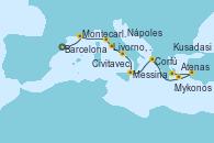 Visitando Barcelona, Montecarlo (Mónaco), Livorno, Pisa y Florencia (Italia), Civitavecchia (Roma), Nápoles (Italia), Messina (Sicilia), Corfú (Grecia), Mykonos (Grecia), Kusadasi (Efeso/Turquía), Atenas (Grecia)