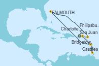 Visitando San Juan (Puerto Rico), Castries (Santa Lucía/Caribe), Bridgetown (Barbados), FALMOUTH, Philipsburg (St. Maarten), Charlotte Amalie (St. Thomas), San Juan (Puerto Rico)