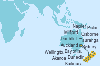 Visitando Sydney (Australia), Milfjord Sound (Nueva Zelanda), Doubtful Sound (Nueva Zelanda), Dunedin (Nueva Zelanda), Dunedin (Nueva Zelanda), Akaroa (Nueva Zelanda), Kaikoura (Nueva Zelanda), Picton (Australia), Wellington (Nueva Zelanda), Napier (Nueva Zelanda), Gisborne (Nueva Zelanda), Tauranga (Nueva Zelanda), Tauranga (Nueva Zelanda), Bay of Islands (Nueva Zelanda), Auckland (Nueva Zelanda)