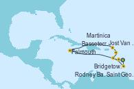 Visitando Bridgetown (Barbados), Rodney Bay (Santa Lucía), Falmouth (Jamaica), Jost Van Dyke (Islas Virgenes), Basseterre (Antillas), Martinica (Antillas), Saint George (Grenada), Bridgetown (Barbados)