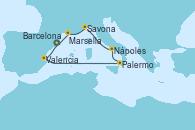 Visitando Barcelona, Valencia, Palermo (Italia), Nápoles (Italia), Savona (Italia), Marsella (Francia), Barcelona