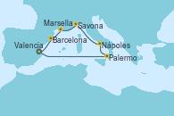 Visitando Valencia, Palermo (Italia), Nápoles (Italia), Savona (Italia), Marsella (Francia), Barcelona, Valencia