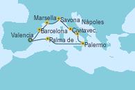 Visitando Valencia, Palma de Mallorca (España), Palermo (Italia), Nápoles (Italia), Civitavecchia (Roma), Savona (Italia), Marsella (Francia), Barcelona, Valencia