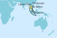 Visitando Singapur, Ko Samui (Tailandia), Laem Chabang (Bangkok/Thailandia), Laem Chabang (Bangkok/Thailandia), Sihanoukville (Camboya), Singapur