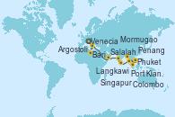 Visitando Venecia (Italia), Bari (Italia), Argostoli (Grecia), Salalah (Omán), Mormugao (India), Colombo (Sri Lanka), Phuket (Tailandia), Langkawi (Malasia), Penang (Malasia), Port Klang (Malasia), Singapur
